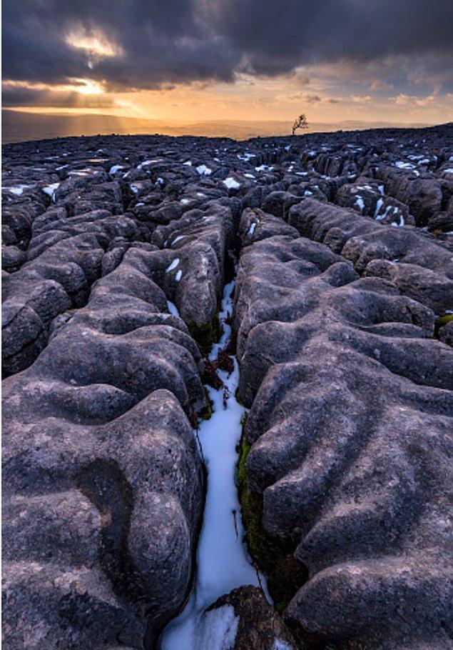 11. İngiltere Yorkshire Dales National Park'taki kireç taşı kaplamalı kayalar: