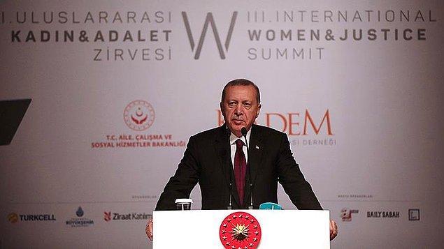 Cumhurbaşkanı Erdoğan, Grand Cevahir Otel'de düzenlenen 3. Uluslararası Kadın ve Adalet Zirvesi'nde konuştu.