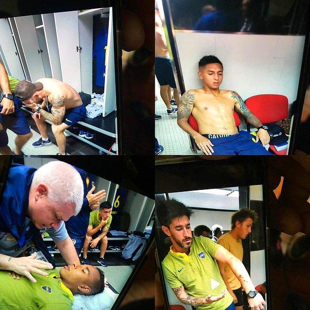 Futbolcuların bazıları yaralandı bazıları ise biber gazından etkilenerek kustu.