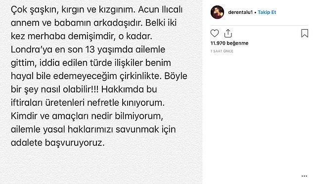 Sosyal medyada ardı ardına dolaşan iddiaların ardından önce Defne Samyeli'nin kızı Deren Talu açıklama yaptı.