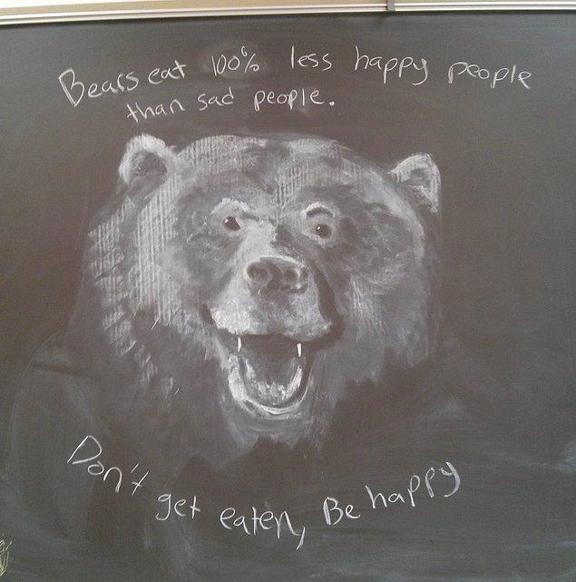 """4. """"Ortaokulda resim öğretmenliği yapıyorum. Boş zamanımda tahtaya öğrencilerim için bir şeyler çizmeyi seviyorum. Bu seferki bu dönemden."""""""