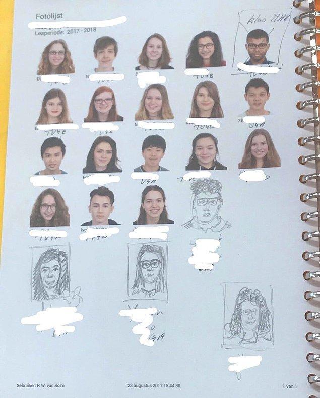 """7. """"Resim dersimize yeni insanlar katıldı, öğretmenimizse yeni bir çıktı almak yerine onların resimlerini çizdi."""""""