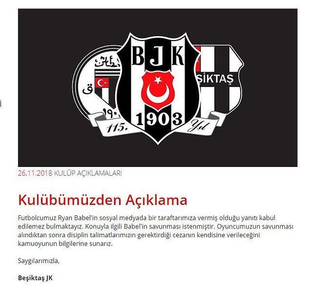 """Beşiktaş: """"Futbolcumuz Ryan Babel'in sosyal medyada bir taraftarımıza vermiş olduğu yanıtı kabul edilemez bulmaktayız."""""""