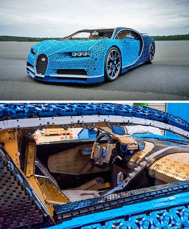 16. Bu da Bugatti'nin milyonlarca Lego'dan yapılmış arabası. Sürebilirsiniz ama motoru gerçek değil.