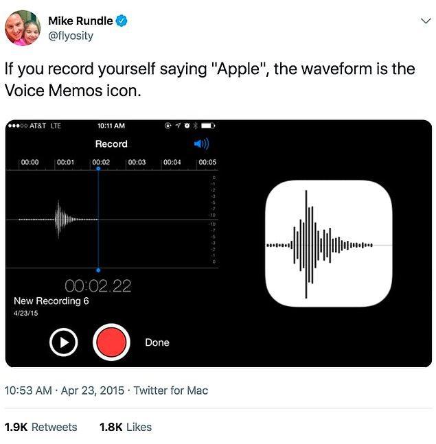 14. Son olarak, iPhone'daki ses kaydedici uygulamanın sembolü, ''Apple'' dendiği zaman oluşan ses dalgası.