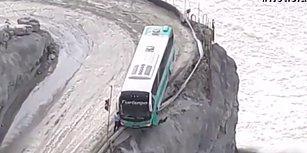 Uçurumun Kenarında Asılı Kalan Otobüsün Yaşattığı Korku Dolu Anlar
