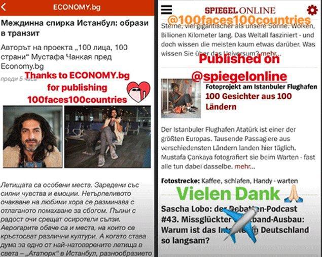 Proje şu ana kadar Alman Spiegel Dergisi ve Zeit Gazetesinde, Protekiz Publica gazetesi ve Fransız Phototrend web sayfasında yayınlandı.
