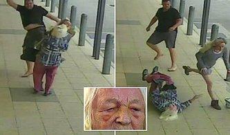 ATM Sırasında Bekleyen Yaşlı Kadına ve Torununa Uçan Tekme Atan Saldırgan!