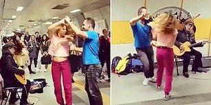 Muhteşem Görüntüler: İstanbul Metrosunda Müzik Yapan İnsanlara Danslarıyla Eşlik Eden Çift