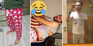 Kırılgan Erkeklik Rafa Kalkıyor: Kız Arkadaşlarının Pijamalarını Giyerek Güldüren Erkekler