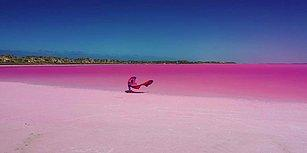 Pembe Gölün Üzerinde Uçurtma Sörfü Yapan Kadının Muhteşem Görüntüleri
