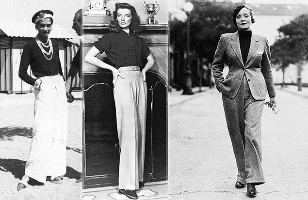 Gelelim Chanel'in kadına, modaya, hatta tarihe damga vuran ilklerine. En önemli devrimi pantolon tasarlayan ve giyen ilk kadın olması.
