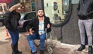 Zabıtaları Gördükten Sonra Ayaklanıp Koşmaya Başlayan Tekerlekli Sandalyeli Dilenci
