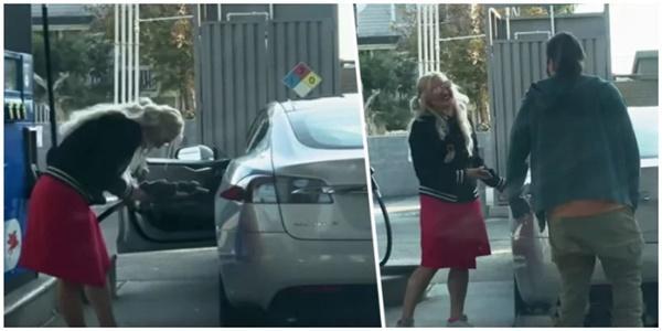 Elektrikli otomobili benzinle doldurmaya çalışan sürücünün videosu sosyal medyada viral oldu