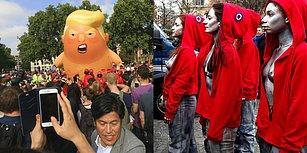2018'in İlginç Eylemleri: Trump Balonu, Yakılan Dolarlar ve Protesto Amaçlı Yenen Portakallar
