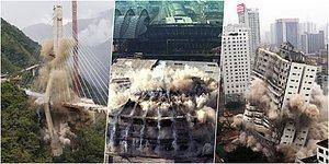 Korkunç Ama Etkileyici! Dinamitle Patlatılan Bu Bina ve Köprülerin Yıkılma Anları Sizi Çok Şaşırtacak
