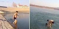 Buz Kütlesinin Altından Yüzerek Geçmeye Çalışan Adamın İzlerken Boğulmanıza Neden Olacak Görüntüleri!