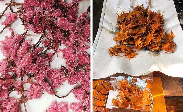 8. Sonbaharda, Japonlar kızarmış akçaağaç yaprağı yiyorlar. İlkbaharda ise şekerlendirilmiş kiraz çiçeği ve bütün yıl boyunca lotus yiyorlar.