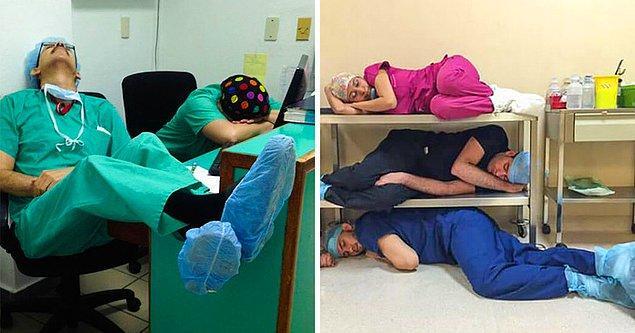 Bonus: Dünyanın her yerinden doktorlar son zamanlarda, ne kadar uzun saatler çalıştıklarını göstermek için bu fotoğrafları paylaşmaya başladılar.