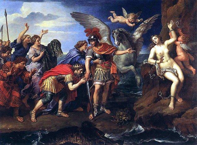 Eros, bu karmaşa sırasında Andromeda'nın Perseus'la güzel bir çift olacaklarını düşünmüş olsa gerek, oradan ayrılmadan evvel bu iki genci birbirine aşık etmeyi ihmal etmemişti. Ee, Aşk Tanrısı olmak da bunu gerektirir öyle değil mi?