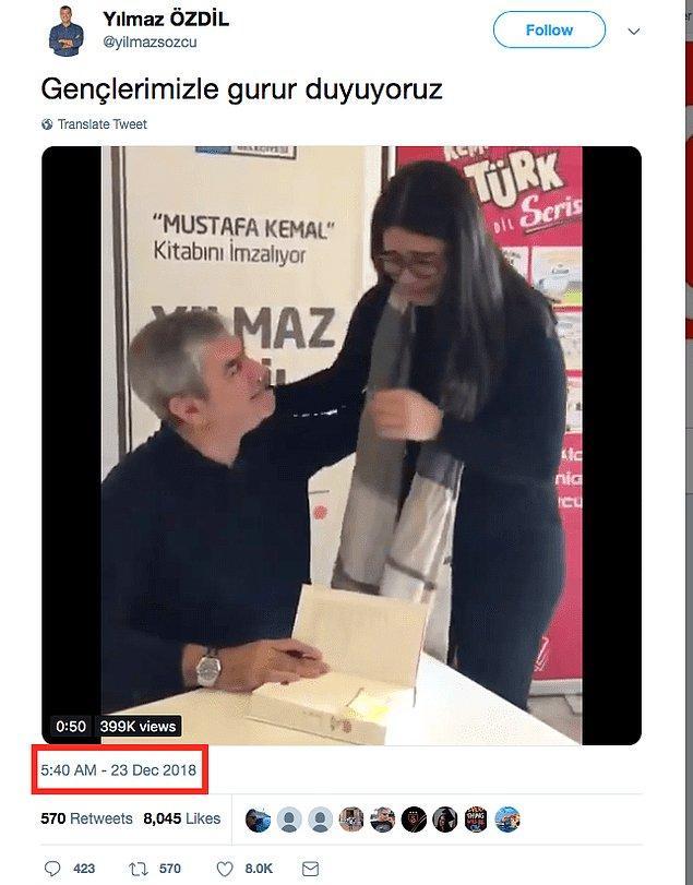 """Ancak videoda ağlayan okurun Yılmaz Özdil'in 2 bin 500 TL değerindeki """"Mustafa Kemal"""" kitabını satın aldığı iddiası doğru değil."""