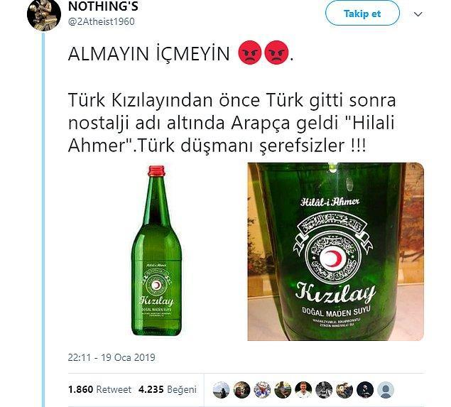 """4. """"Kızılay Doğal Maden Suyu'nun şişesinden """"Türk Kızılayı"""" yazısı kaldırılıp Arapça etiket konulduğu iddiası."""""""