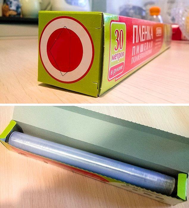 9. Alüminyum folyo, streç film ya da pişirme kağıdı gibi rulo şeklindeki ürünlerin kutularının yan kısmında içeri doğru giren bu parça ruloyu içeride sabitlemeye yarar.