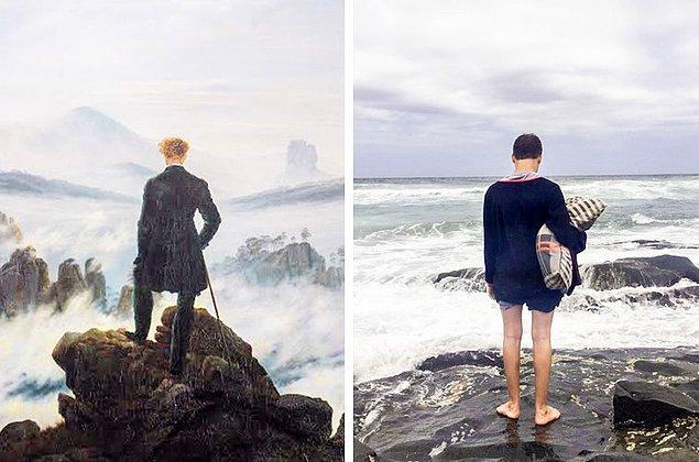 """10. """"Kız arkadaşımın kardeşi otizmli. Nereye gitse yastığını da yanında götürüyor. Yeni yıl için tatile gittiğimizde onu kayalıkların üzerinde böyle dururken görünce Caspar David Friedrich'in resmini düşündüm."""""""