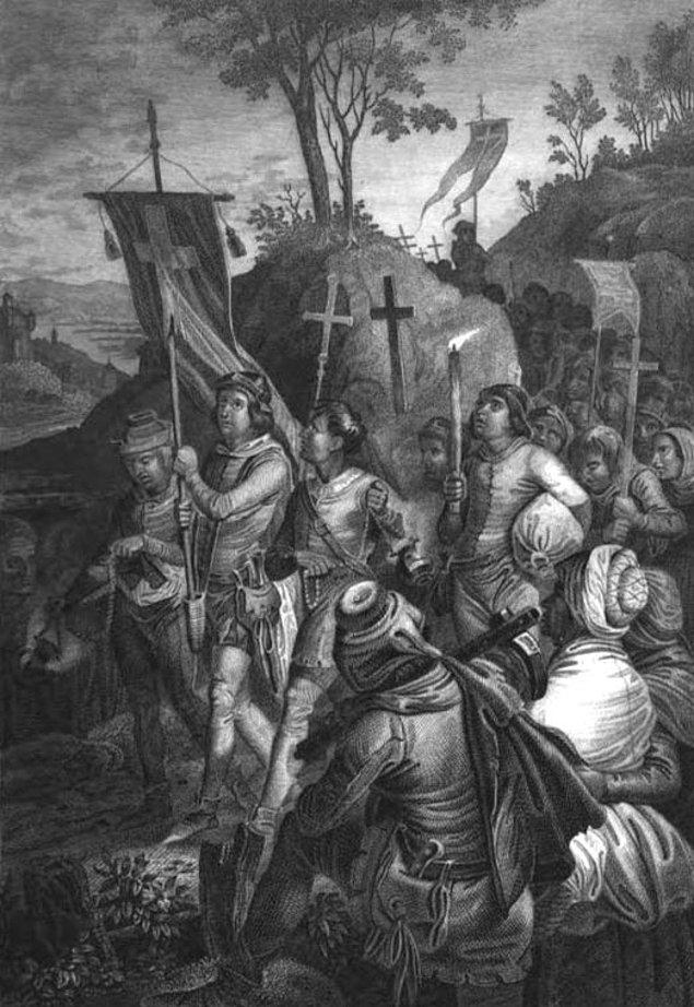 Aynı günlerde, Almanya'nın Köln şehrinde yaşayan Nicholas rüyasında Hazreti İsa'yı gördü ve Stephan'la benzer şekilde yirmi bin çocuğu etrafına toplayarak yola çıktı.