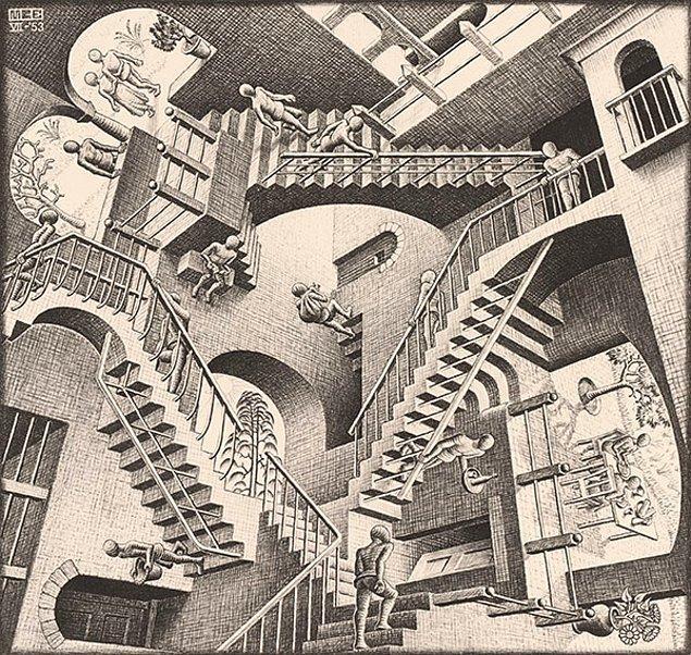 """Merdivenler, Hollandalı grafik sanatçısı M.C. Escher'in, alışılmış yer çekimi kanunlarının uygulanmadığı 1953 """"Relativity"""" (İzafiyet) eserini anımsattı."""
