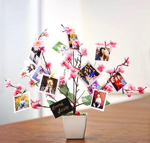 1. Tüm anılarınızı iki kişilik tatlış bir soyağacına çevirebileceğiniz: Kişiye özel pembe fotoğraf ağacı.