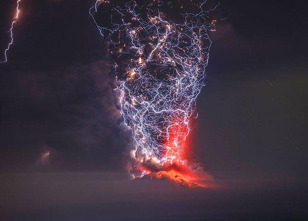 2. Volkanik patlama ve şimşek.