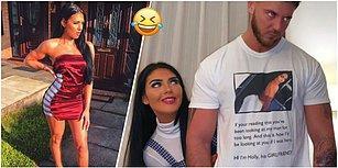 Erkek Arkadaşına Gece Dışarı Çıkarken Giymesi İçin Üzerinde Fotoğrafı ve Uyarı Yazısı Olan Bir Tişört Hediye Eden Kadın