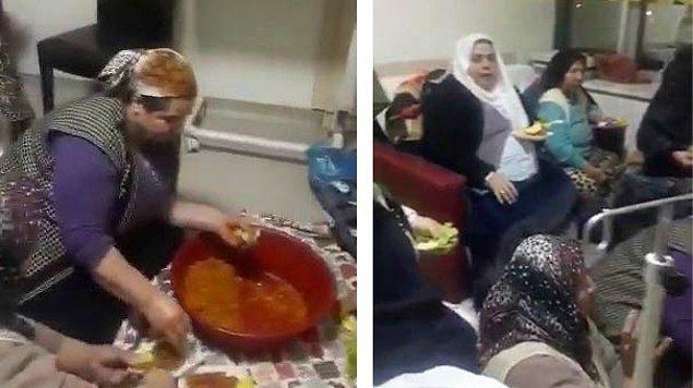 11 kadın hasta ve refakatçilerin çiğ köfte partisi, hastane odasında bulunan bir kişi tarafından cep telefonuyla kaydedildi.