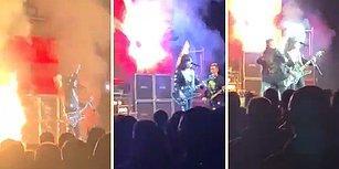 Konser Sırasında Saçları Yanmaya Başlayan Müzisyenin Hiçbir Şey Olmamış Gibi Şarkısına Devam Ettiği Efsane Anlar