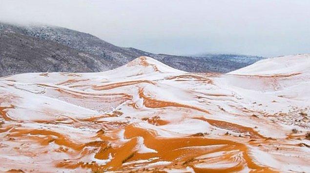 1979: Sahra Çölü'ne kar yağdı.