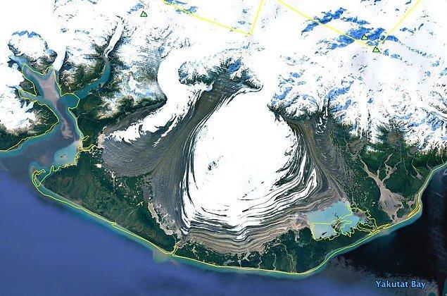 """7. """"Alp buzulları düz bir ovaya yayılıyor. Bu Güney Alaska'da."""""""