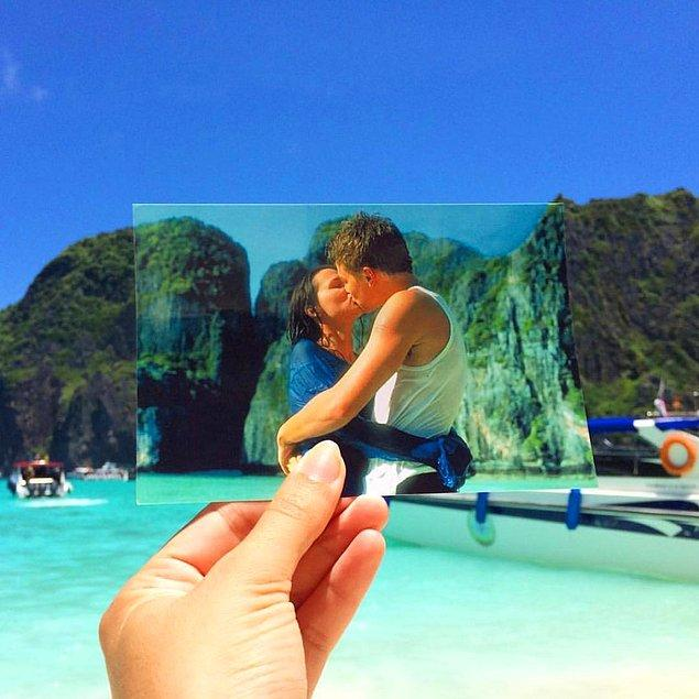 """The Beach"" filminde Leonardo DiCaprio'nun Virginie Ledoyen'i öptüğü Maya Bay, Tayland!"