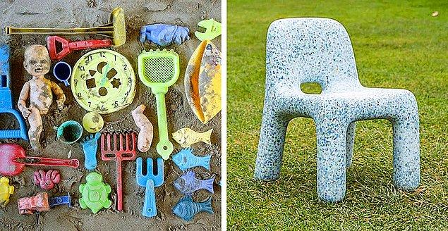 3. Kırık plastik oyuncaklardan elde edilen çocuk mobilyaları
