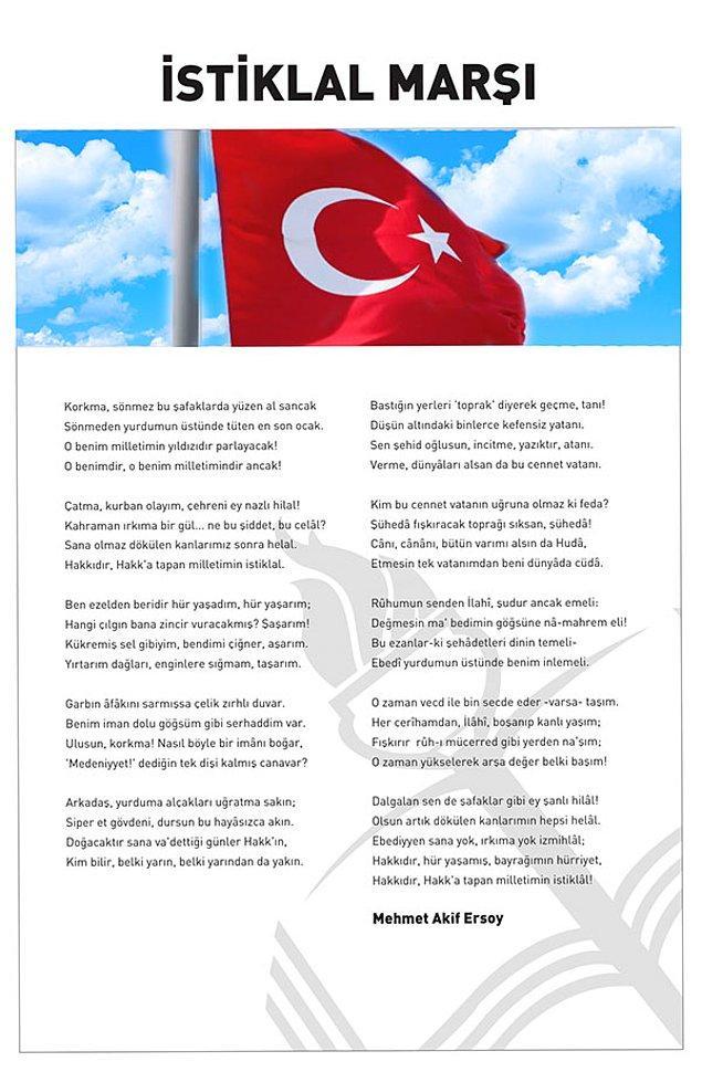 """1921: Mehmet Âkif Ersoy'un sözlerini yazdığı """"İstiklâl Marşı"""", Maarif Vekili (Millî Eğitim Bakanı) Hamdullah Suphi Tanrıöver tarafından, Meclis'te ilk kez okundu."""