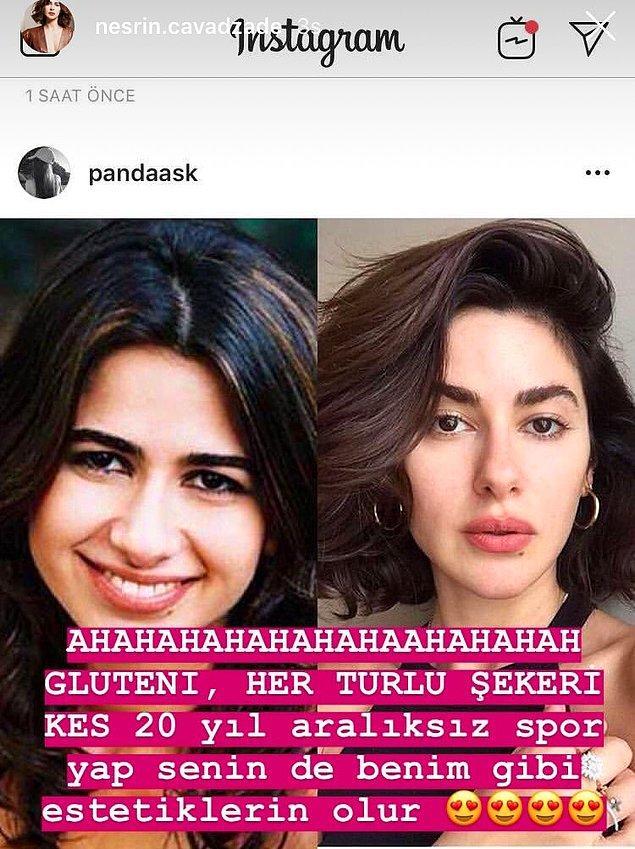 """Bir magazin sayfası, Nesrin Cavadzade'nin eski ve yeni fotoğraflarını karşılaştırdı. Bunun üzerine Nesrin Hanım, kendisinin """"glutensiz beslenme"""" yöntemiyle değiştiğini şu şekilde beyan etti."""