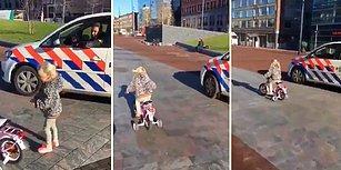 Kendine Yarış Teklif Eden Bisikletli Küçük Kızı Kırmayıp Yarışan Polis