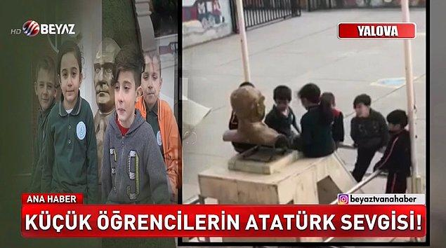 Koru beldesi Çalıca Mahallesi'ndeki okulda, 22 Şubat'ta okul çıkışı servis aracını beklerken oyun oynayan ilkokul öğrencileri, bahçedeki Atatürk büstünü öptü.