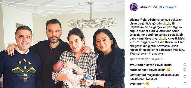 Çocuklarına kavuşmanın heyecanını yaşayan çift, yakın zamanda Burak'ı sünnet ettirdi ve  Alişan sünnet heyecanını Instagram hesabından bu fotoğrafı koyarak takipçileriyle paylaştı.