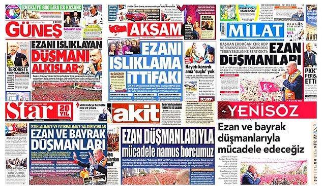 Hükümete yakınlığı ile bilinen medya kuruluşlarının attığı manşetler tepkilere neden olmuştu.