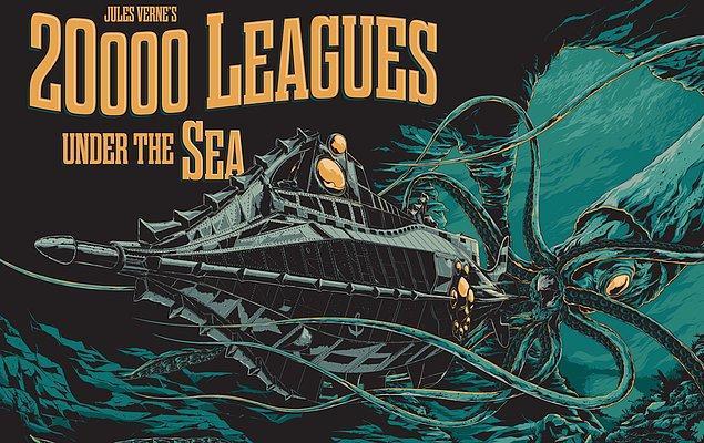 """9. Disney, Türkçeye """"Denizler Altında 20.000 Fersah"""" olarak çevrilen """"20,000 Leagues Under The Sea"""" romanını yeniden beyaz perdeye uyarlamak için çalışmalara başladı."""