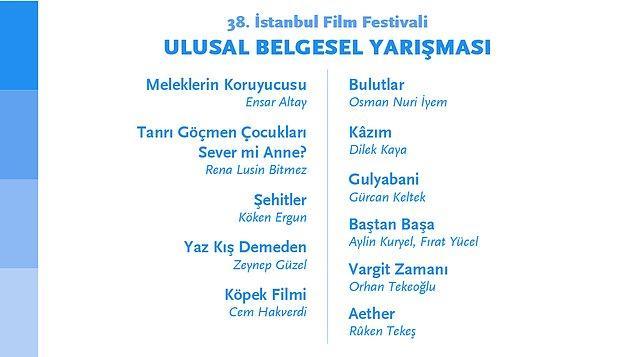 Ulusal Belgesel Yarışması'nda yarışan 11 film ise şöyle 👇