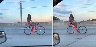 Ters Şekilde Bindiği Bisikletini Araçların Arasında Kullanan Rahatsız Adam