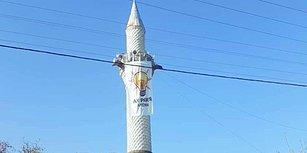 Seçim Propagandası Minarede: Camiye AKP'nin Bayrağı Asıldı