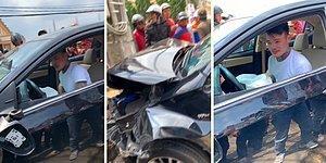 Kaza Yaptıktan Sonra Kayışı Koparıp Aracın İçinde Dans Etmeye Başlayan Adam